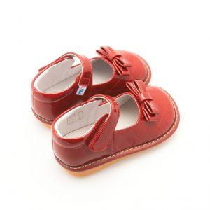 Donkerrode meisjesschoen met strik
