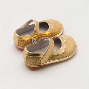 Gouden meissjesschoen met glitters